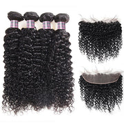 Ishow Brazilian Curly Human Hair 4 Bundles With 13x4 Lace Frontal Closure