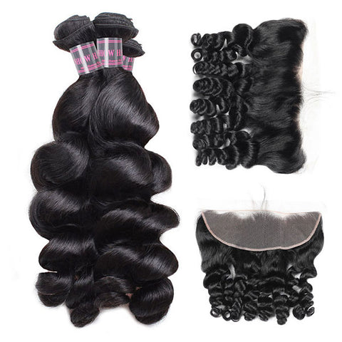 Ishow Virgin Brazilian Hair With Lace Frontal Closure 4 Bundles Loose Wave Human Hair