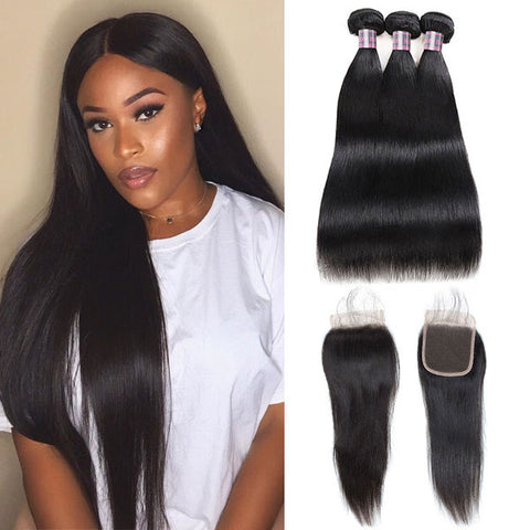 8A Peruvian Virgin Straight Hair 3 Bundles With Lace Closure 100% Human Hair