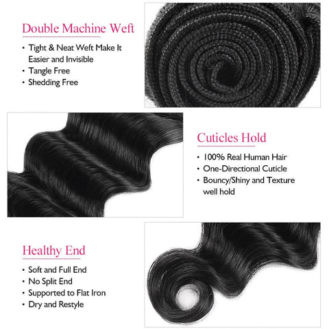 Ishow Hair Brazilian Virgin Hair Loose Deep Wave 3 Bundles Human Hair