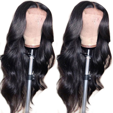2 Pieces Wigs 4*4 Lace Front Wigs, Straight Hair Lace Wigs With Body Wave Human Hair Wigs