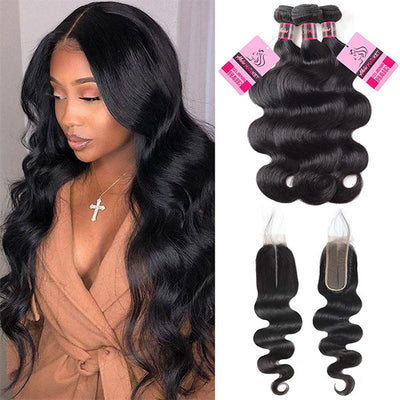 8A Quality Body Wave Hair 3 Bundles With 2*6 Lace Closure