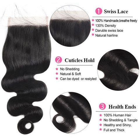 8A Quality Body Wave Human Hair 3 Bundles With 5*5 Lace Closure