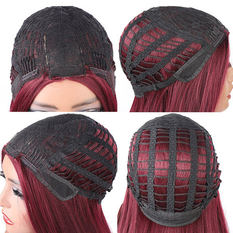 Long Straight Synthetic Wigs Middle Part Wine Red Synthetic No Lace Wig