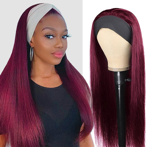 Long Headband Wig 99J Human Hair Wigs With Headband 180% Density