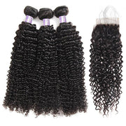 Allove 8A Brazilian Hair Curly Human Hair 3 Bundles With 4*4 Lace Closure