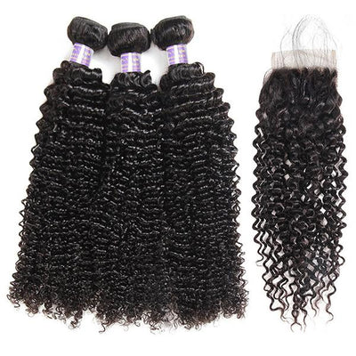 8A Brazilian Hair Curly Human Hair 3 Bundles With 4*4 Lace Closure