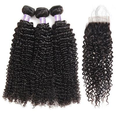 Brazilian Kinky Curly Hair 9A 3 Bundles With Lace Closure Unprocessed Human Hair