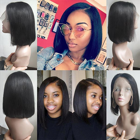 Bob Style Short Wigs for Black Women Remy Straight Human Hair Wigs