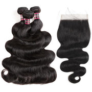 Brazilian Virgin Hair Body Wave 3 Bundles With 6*6 Lace Closure