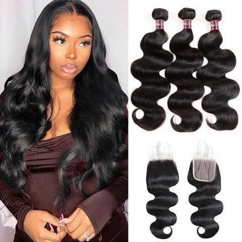 Brazilian Hair Body Wave 100% Human Hair 3 Bundles With Transparent Lace Closure