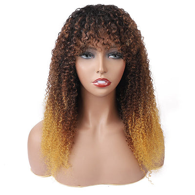Curly Virgin Hair Wigs Machine Made Wigs 100% Human Hair Wig With BangsCurly Virgin Hair Wigs Machine Made Wigs 100% Human Hair Wig With Bangs
