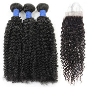 10A Brazilian Hair Curly Human Hair 3 Bundles With Lace Closure