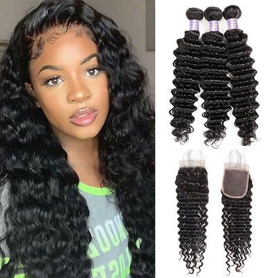9A 3 Bundles Deep Wave Virgin Human Hair With 4*4 Lace Closure Unprocessed Brazilian Hair
