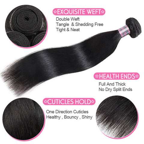 Virgin Remy Indian Straight Human Hair 3 Bundles With 4*4 Lace Closure