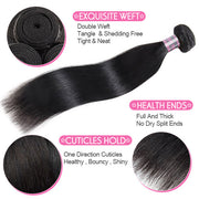 Malaysian Straight Human Hair 3 Bundles With 4*4 Lace Closure Unprocessed Virgin Hair