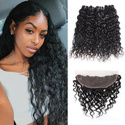 Ishow Hair Brazilian Water Wave Human Hair 3 Bundles With 13*4 Lace Frontal