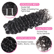 Ishow Peruvian Water Wave Human Hair 3 Bundles With 13*4 Lace Frontal Virgin Hair
