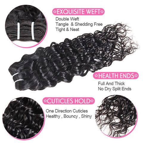 Ishow Malaysian Water Wave Hair 3 Bundles With 13*4 Lace Frontal