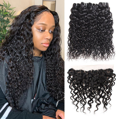 Ishow Virgin Peruvian Hair Water Wave 4 Bundles With 13x4 Lace Frontal
