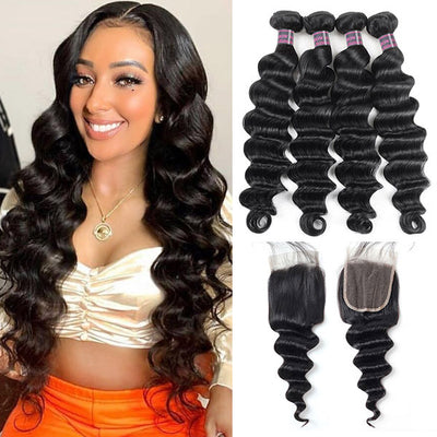 Ishow Malaysian Virgin Human Hair Loose Deep Wave Hair 4 Bundles With Closure