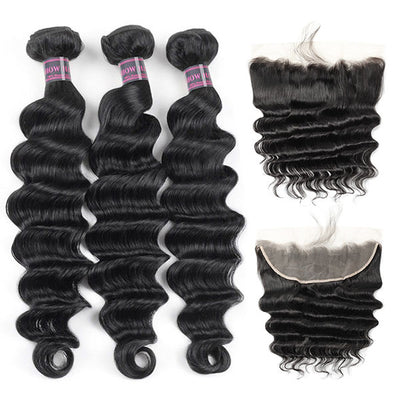 Ishow Malaysian Loose Deep Wave Hair 3 Bundles With Lace Frontal Closure Virgin Human Hair