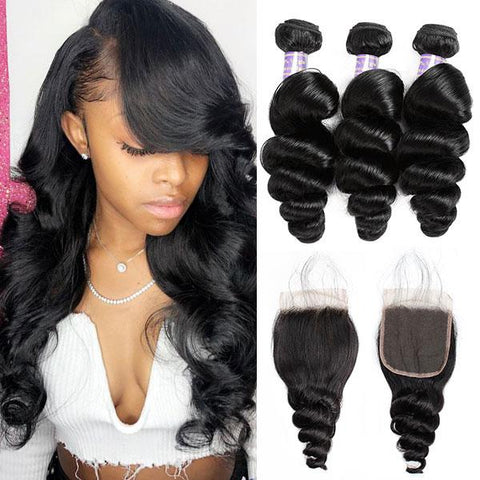 Allove 8A Brazilian Loose Wave Human Hair 3 Bundles With 4*4 Lace Closure