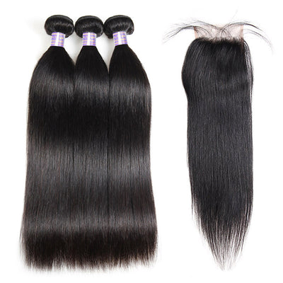 9A Brazilian Straight Virgin Hair 3 Bundles With 4x4 Lace Closure On Sale