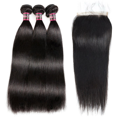 Brazilian Hair 100% Virgin Human Hair With 6*6 Lace Closure