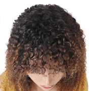 Curly Virgin Hair Wigs Machine Made Wigs 100% Human Hair Wig With Bangs
