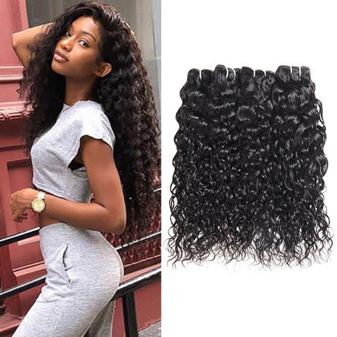 Allove 8A Brazilian Hair Extension 3 Bundles Water Wave Human Hair Weave