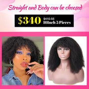 Afro Curly Hair Wig With Bangs $ 340 Package Deal