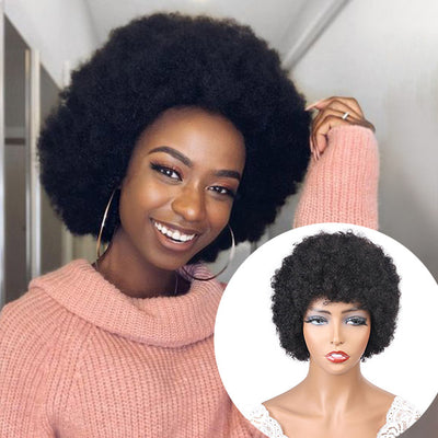 Afro Kinky Curly Bob Wigs No Lace Human Hair Wigs Short Bob Human Hair Wigs