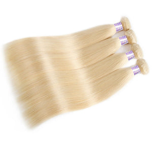 613# Blonde Hair 3 Bundles Virgin Straight Human Hair Weave