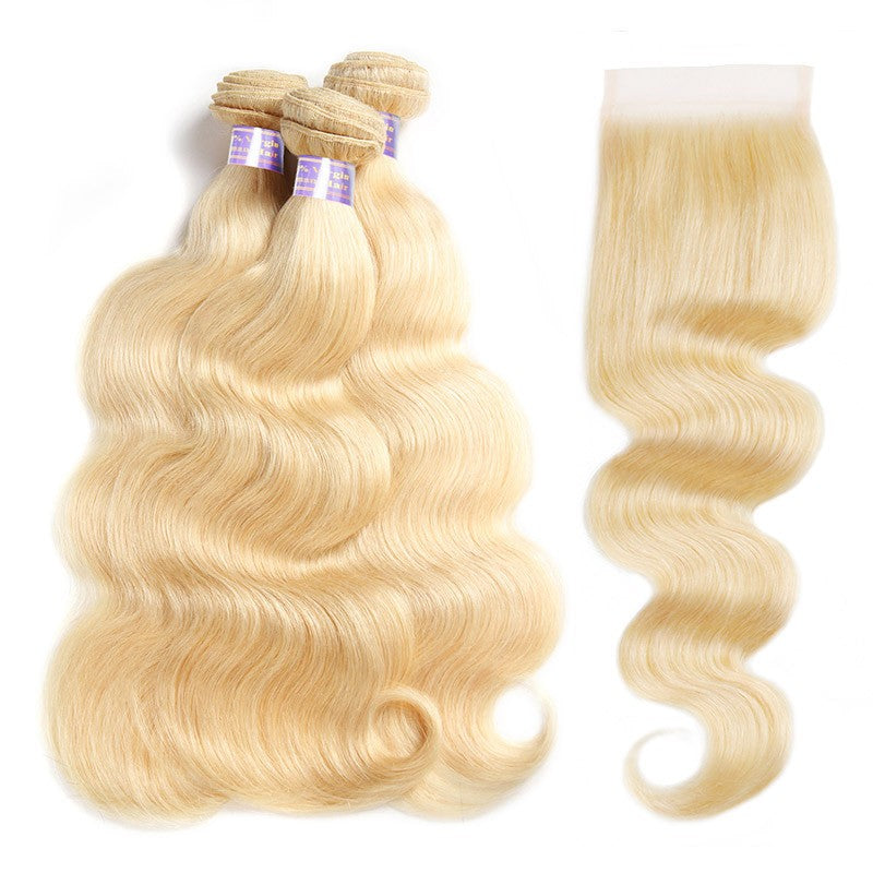 3 Bundles 613 Blonde Body Wave Human Hair With 4x4 Lace Closure