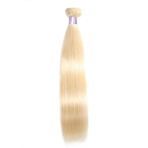 613 Blonde Straight Human Hair Weave 3 Bundles With Lace Closure
