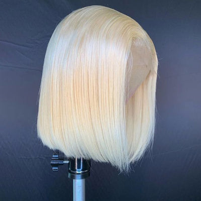 Hairsmarket Short Bob Lace Wig, 613# Blonde Straight Human Hair Wigs With Bang