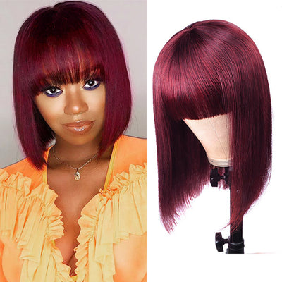 Short Bob Human Hair Wigs With Bang Machine Made Wigs For Black Women