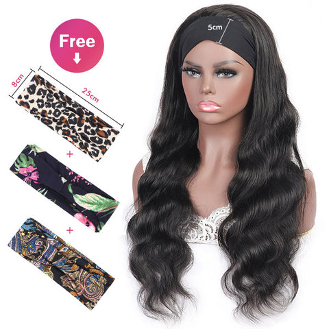 Body Wave Headband Human Hair Glueless Non Lace Front Wigs