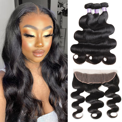 10A Brazilian Body Wave Human Hair 3 Bundles With 13x4 HD Lace Frontal