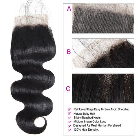 4*4 Customized Lace Wigs 9A Virgin Body Wave Hair With Lace Closure