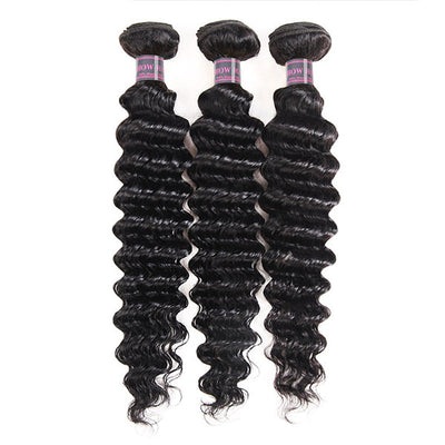 Ishow Peruvian Virgin Hair Deep Wave 3 Bundles Unprocessed Human Hair