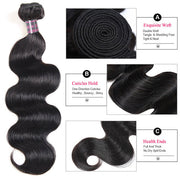 Ishow Indian Human Hair Body Wave 4 Bundles With 4x4 Lace Closure