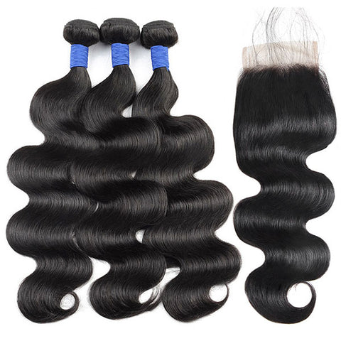 10A Brazilian Body Wave Human Hair 3 Bundles With 4*4 Lace Closure
