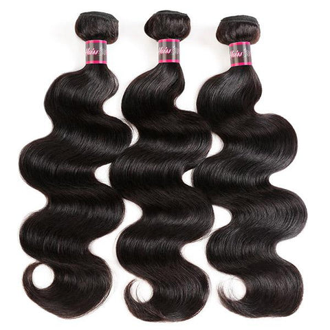Transparent Lace Frontal With 3 Bundles Brazilian Body Wave Hair