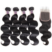 Ishow 4 Bundles Body Wave Hair With Lace Closure Unprocessed Peruvian Hair Extensions