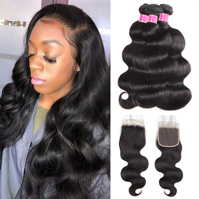 Meetu 8A Brazilian Virgin Human Hair Body Wave 3 Bundles With 4*4 Lace Closure