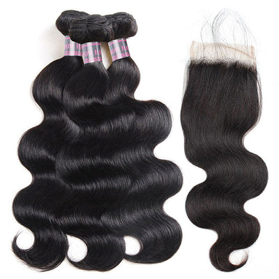 8A Virgin Human Hair Body Wave Hair Buy 3 Bundles Get 1 FREE Closure