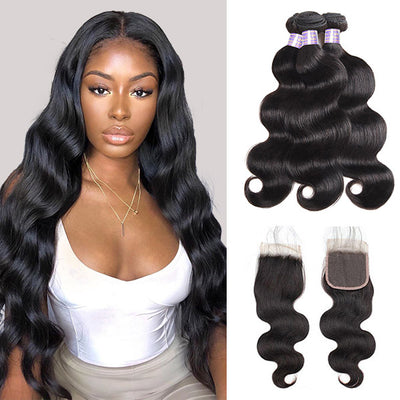 8A Brazilian Body Wave Hair Weave 3 Bundles With Lace Closure