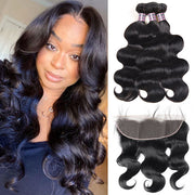8A Brazilian Virgin Hair Body Wave Human Hair 3 Bundles With 13*4 Lace Frontal
